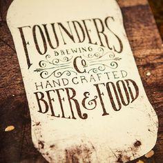 Founders Brewing menu design by Scott Schermer.