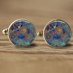 Hey, I found this really awesome Etsy listing at https://www.etsy.com/listing/186440923/16mm-cufflinks-blue-mandala-cufflinks