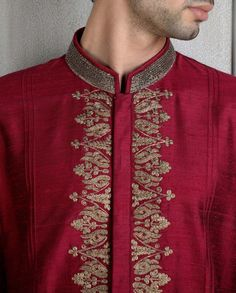 Maroon Kurta with Embroidered Placket