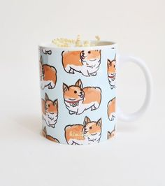 11 oz Welsh Corgi Pattern Mug Available in 3 corgi colors: Tri Color Corgi, Brown Corgi, White Corgi Please note that there may be slight color differences between the product picture and the real pro