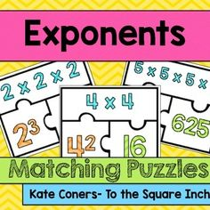 Exponent Matching Puzzles, Common Core Standard: 6.EE.1Included in this product:*24 different three piece exponent puzzles. Each puzzle includes the exponent, expanded form and the value. Students can solve each puzzle can be solved without using a calculator (larger numbers are raised only to the second or third powers)*Recording SheetPerfect for math centers, engaging classroom practice and guided math!Check out additional exponent products HERE