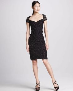 $460 David Meister Black Ruched Ribbon Lace Sequin Sheath Dress