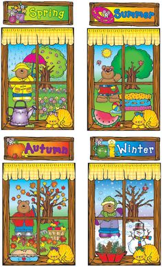 Four Seasons Windows Bulletin Board Set, 8 pieces Teaching Weather, Preschool Weather, Preschool Education, Preschool Science, Parent Teacher Store, Four Seasons Art, Classroom Borders, Season Calendar, Kindergarten Projects