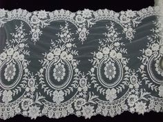 White embroidered tulle galloon lace embellished with seed beads and sequins