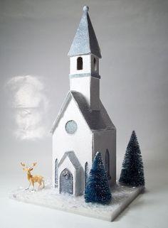 Vintage Putz House Church Pattern & Instructions Christmas Village Glitter House…