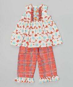 Look at this #zulilyfind! Red Daisy Top & Plaid Capri Pants - Infant, Toddler & Girls #zulilyfinds