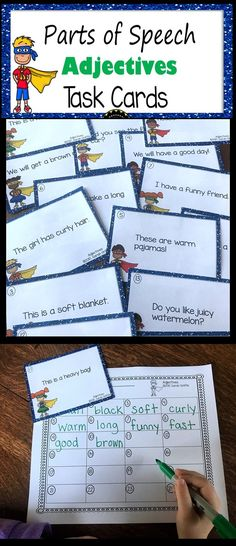 Adjectives Task Cards | Parts of Speech | Game | Center | Intervention | Tutoring | interactive activity | Superhero | First Grade | Second Grade | Third Grade