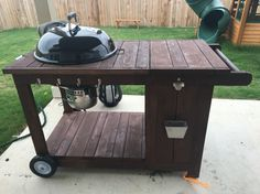 Custom Weber BBQ grill cart with ice chest