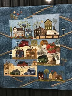 At the European Patchwork Meeting in Alsace, France, Quiltmania presented an exhibition called Variations of Yoko Saito& Mystery Q. Yoko Saito, House Quilt Patterns, House Quilt Block, Wool Quilts, Applique Quilts, Hand Applique, Landscape Art Quilts, Japanese Patchwork, Panel Quilts