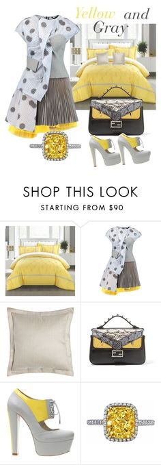 """yellow  and gray"" by rpsounos ❤ liked on Polyvore featuring Marc by Marc Jacobs, Ralph Lauren Home, Fendi and Alepel"