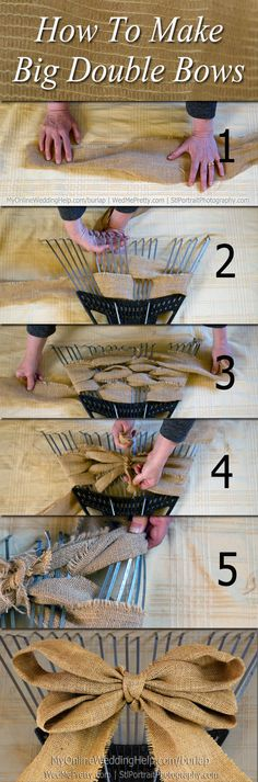 Like what Jodi showed me with a fork, only using a rake for a much bigger bow.How to make a burlap bow...even and straight.