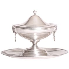 Portuguese Silver Tureen with Cover on Silver Stand | From a unique collection of antique and modern tureens at https://www.1stdibs.com/furniture/dining-entertaining/tureens/