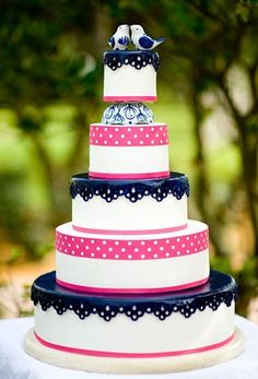 Pink and Navy blue themed wedding cake idea. I am thinking my pink will be a lighter shade!