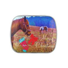 Horse Christmas Stocking Personalize with Name Jelly Belly Candy Tin