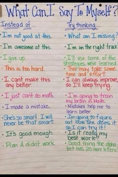 A great anchor chart to promote persistence, resilience and HARD WORK! I love everything about this.