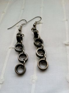 Recycled Bicycle Chain Earrings by LlamaTradingCo on Etsy, $10.00