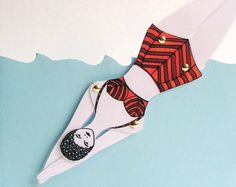 RETRO articulated swimmer doll type 2 / bookmark / by CUTandTEAR, £6.00