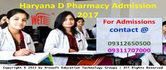 Get detailed information on D Pharmacy Admission 2017 Haryana. For queries regarding admission process, fee details. exam dates contact @ 09312650500, 09311707000.