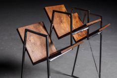 Regał na płyty winylowe półki metal drewno