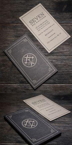 Sophisticated Vintage Style Letterpress Business Card For A Restaurant