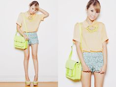 Colour blocking pastels with a touch of lumo <3  (by Tricia Gosingtian) http://lookbook.nu/look/4029366-91712