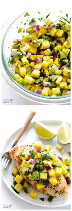 Grilled Chicken with Pineapple Avocado Salsa -- the perfect fresh and tasty dinner! This is sooooo yummy