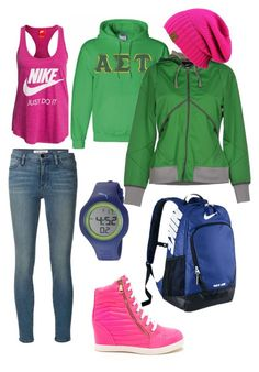 """спортивный стиль"" by explorer-14438772771 on Polyvore featuring Frame Denim, NIKE and Puma"