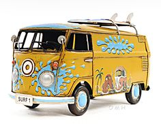 "CaptJimsCargo - 1967 Volkswagen VW Bus Tin Metal Car Model 12"" with Surf Boards,  (http://www.captjimscargo.com/metal-model-tether-cars-automobiles/1967-volkswagen-vw-bus-tin-metal-car-model-12-with-surf-boards/) This model is the manufacturer's artistic interpretation of a 1967 Volkswagen VW Bus and so some details are not entirely correct."