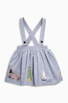 Купить Синяя/светло-бежевая юбка с подтяжками и декоративной отделкой (3 мес.-6 лет) - Покупайте прямо сейчас на сайте Next: Россия