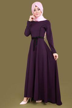 ** YENİ ÜRÜN ** Biyeli Tesettür Elbise Mürdüm Ürün kodu: BİSS4202 --> 89.90 TL