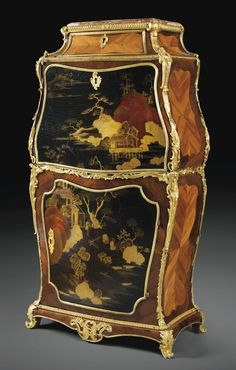 LOUIS XV GILT-BRONZE MOUNTED TULIPWOOD AND JAPANESE LACQUER SECRÉTAIRE, STAMPED I.F.DUBUT, CIRCA 1750  Height 48 in; width 25 1/4 in; depth 12 2/3 in