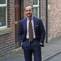 """perfettobenedetto: """" Some weeks ago: In the streets of Macclesfield. Fashion Suits, Mens Fashion, Navy Blue Suit, Fashion Lookbook, Mens Suits, Suit Jacket, Menswear, Jackets, Style"""