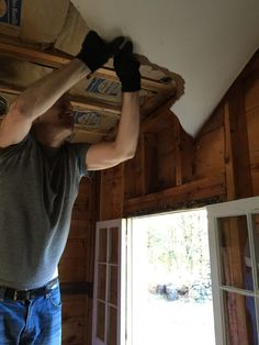Todd taking down the ceiling Laundry Room, Cottage, Ceiling, Laundry Rooms, Cottages, Cabin, Farmhouse, Laundry