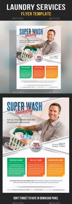 Laundry Services - Flyer Template V03 by rapidgraf Pack included: Flyer Template PSD file Print: 216154 mm Final: 210148 mm 5.88.3 inches Print Ready CMYK, 300dpi H