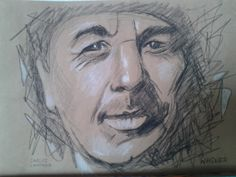 Carlos Santana: Bleistift, Kohle, Pastell auf farbigem Papier Portraits, Art, Carlos Santana, Pencil, Pastel, Head Shots, Kunst, Portrait Paintings, Portrait