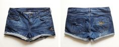 25 Awesome DIY Jeans And Denim Shorts For Spring And Summer - Shelterness Diy Shorts, Diy Jeans, Diy Denim, Diy Clothes Refashion, Diy Clothing, Distressed Denim Shorts, Diy Clothes And Shoes, Spring Shorts, Studded Shorts