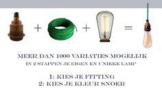 Hoe ontwerp ik mijn eigen lamp?  Stap 1: kies één van de onderstaande fittingen. De prijs bij deze fittingen is de totaalprijs van de door jouw ontworpen lamp inclusief snoer.  Zodra je de fitting gekozen hebt kom je op de volgende pagina waar je je favoriete kleur snoer kan kiezen.  Stap 2: Elke lamp komt standaard met 2 meter snoer en wordt voor je in elkaar gezet.