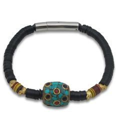KRMA - Men's Mini Gold Skull Bracelet with a Handmade Tibetan Bead- Browse the collection at krma.com today! #krma #hellokrma #summer #fashion #summerfashion #2013 #new #trend #trendsetter #fashionista #musthave #loveit #love #needit #jewelry #jotd #potd #designer #gold #silver #diamonds #necklace #bracelet #ring #earrings #armswag #armparty #armcandy #wishlist #womensjewelry #mensjewelry #unisex
