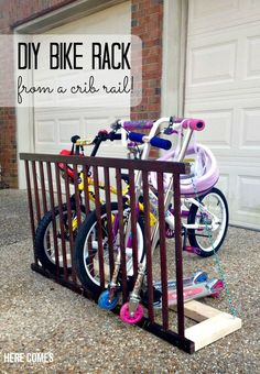 most unique up-cycling project! DIY Bike Rack from a Crib Rail! - Here Comes The SunDIY Bike Rack from a Crib Rail! - Here Comes The Sun Old Baby Cribs, Old Cribs, Repurposed Furniture, Home Furniture, Furniture Ideas, Antique Furniture, Wooden Furniture, Cottage Furniture, Furniture Buyers