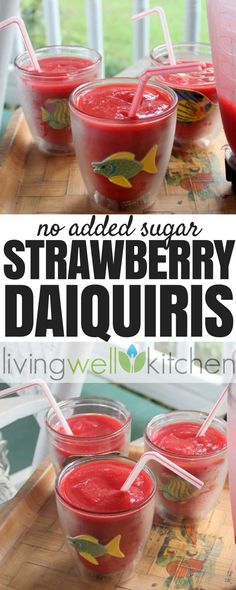 Only four ingredients needed to make these Strawberry Daiquiris from guaranteed to satisfy your craving with no added sugar. Dairy free, gluten free, vegan, no sugar added recipe. Great for entertaining! Lime Recipes, Sugar Free Recipes, Modified Atkins Diet, Strawberry Daiquiri Recipe, Frozen Strawberries, Fresh Lime Juice, Cravings, Drinks, Beverages