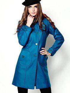 Blue Lapel Long Sleeve Wool-Blend Coat