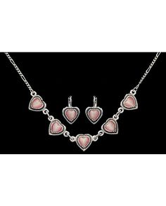 MONTANA SILVERSMITHS  Pink Heart Earrings & Necklace Set  $49.95  COUNTRY OUTFITTERS