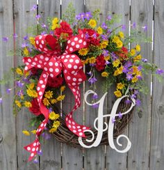 Monogram Wreath Wildflower Wreath Summer and by HornsHandmade