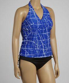 Look at this #zulilyfind! Blue & White Linear Halter Tankini - Women & Plus by InGear #zulilyfinds
