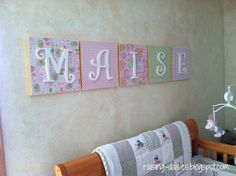 I love this idea, except with baseball theme prints behind the lettering. Definitely doing this.