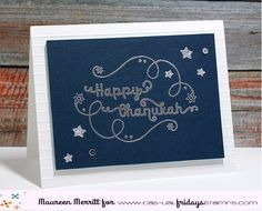 Silver embossing against a navy background is amazing! Chanukah clear stamps by CAS-ual Fridays Stamps Navy Background, Die Cut Cards, On October 3rd, Star Of David, Cool Cards, Clear Stamps, Hanukkah, Card Ideas, Christmas Cards