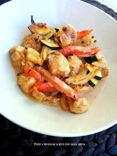Cocinax2. Las recetas de Laurita.: Pollo y verduras al grill con salsa ligera