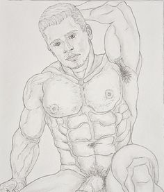 """Sam by Galean.Art is a nude male Original drawing on """"Canson"""" heavyweight paper - Graphit pencil black ink. Watercolor Pencils, Watercolour Painting, Drawing Studies, Cotton Canvas, Nude, Ink, Website, Gallery, Paper"""