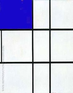Composition B with Cobalt By Piet Mondrian. Replica Paintings on Canvas - Reproduction Gallery Famous Art Paintings, Popular Paintings, Oil Paintings, Abstract Canvas, Oil Painting On Canvas, Mondrian Art, Cubist Movement, Trending Art, Moving To Paris