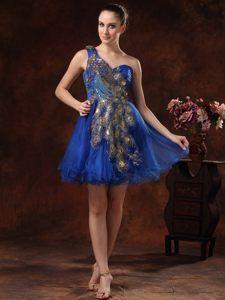 Embroidery One Shoulder Royal Blue Cocktail Dress in Limoges France